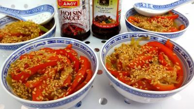 Recette Bols de sauté de concombre et poivrons à la chinoise