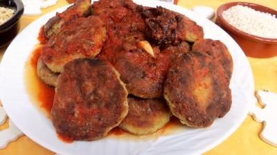 Recette Assiette de galettes de poireau au riz et sa sauce tomate