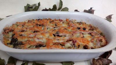 pecorino : Plat de poireaux gratinés au four