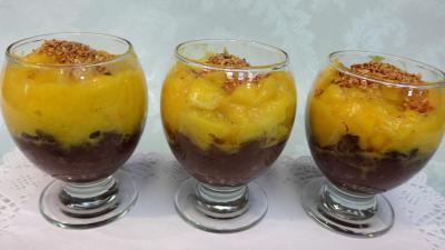 gingembre en poudre : Verrines de boudin à la mangue
