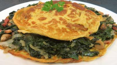 Oeufs : Assiette d'omelette aux épinards