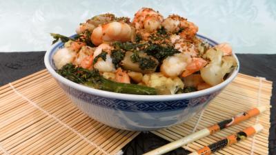 huile de tournesol : Cappellini aux crevettes