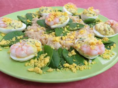 oseille : Oeufs mimosa aux crevettes