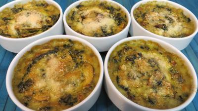 Recette Cassolettes d'épinards et champignons au four