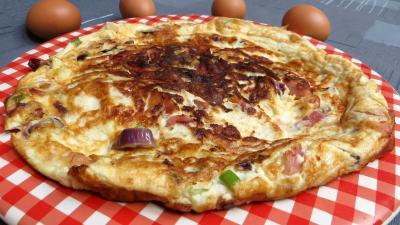 Image : recette Blancs d'oeuf en omelette au jambon