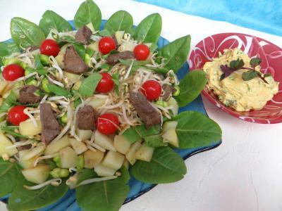 Recettes rapides : Plat de salade en sauce verte