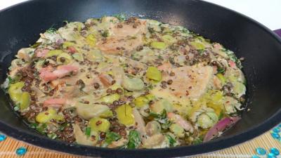 plat complet : Wok de lentilles à la sauce moutarde