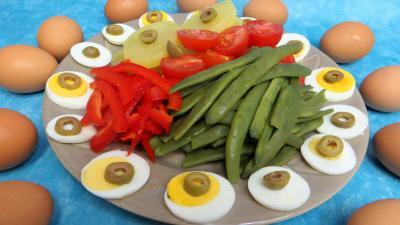 poivron rouge, vert, jaune : Assiette de salade provençale