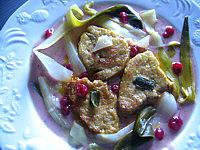 foie gras sauce aux airelles et aux poireaux
