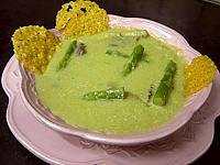 Image : recette Crème d'asperges aux gésiers confits et magret à la landaise