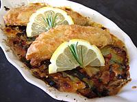 filets de rougets et ses légumes au brie