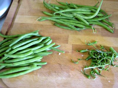 effiler les haricots verts