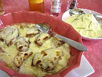 Image : Plat à gratin de thon vapeur gratiné au gorgonzola