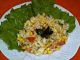 Image : Assiette de salade de riz au thon