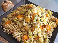 Photo : Nouilles chinoises aux poireaux