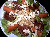 entrée à base d'abats : Assiette de salade tiède de rognon
