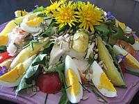 langouste : Plat de salade de langoustes aux pommes de terre