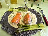 asperges et queures de langoustes au wisky