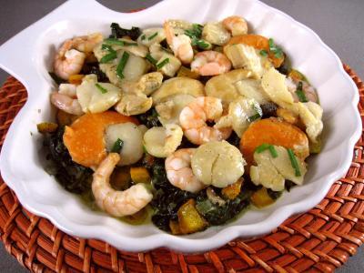 crustacés : Epinards aux fruits de mer