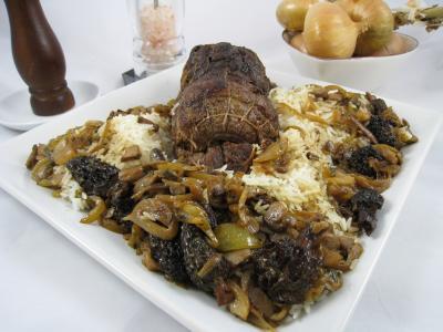 morille : Rôti de biche aux morilles et au riz