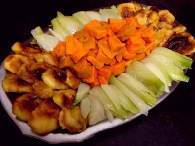 Recette Assiette de chapon aux pommes et légumes avec sauce au champagne et armagnac