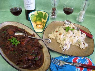 gibier : Assiette de civet de cerf et sa floraline