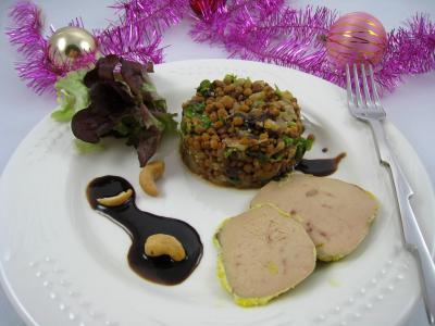 foie gras : Foie gras aux lentilles et au vinaigre balsamique