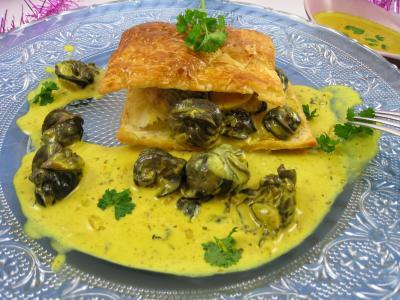pineau des charentes : Feuilleté d'escargots aux épices