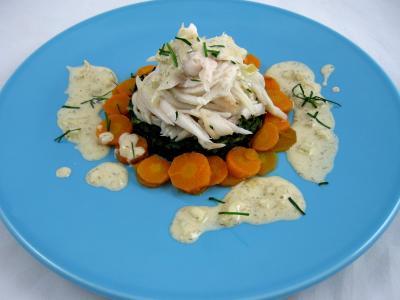 carotte fane : Assiette d'ailes de raie aux carottes et aux bettes