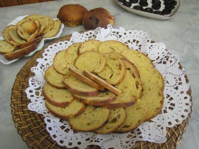 pain au citron et aux noix de cajou et raisins secs