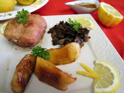veau : Assiette de paupiettes au citron, cèpes et pommes