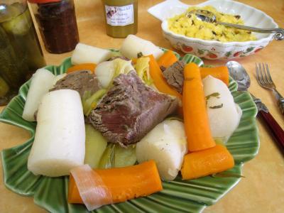 polenta : Assiette de jarret de boeuf en pot au feu