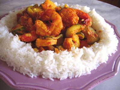 Recette Assiette de cari de crevette et courgette façon réunionnaise