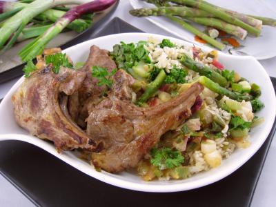 Recette Assiette d'ognasses au riz, asperges et agneau