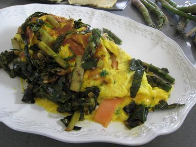 Recette Assiette d'omelette d'asperges au chou et aux ognasses