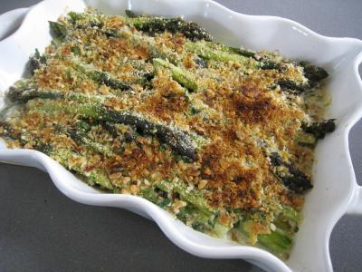 Recette Plat  gratin d&#39;asperges gratines