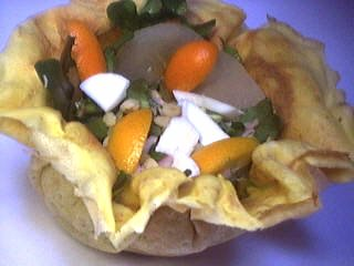 Image : Aumônière de crêpe aux kumquats