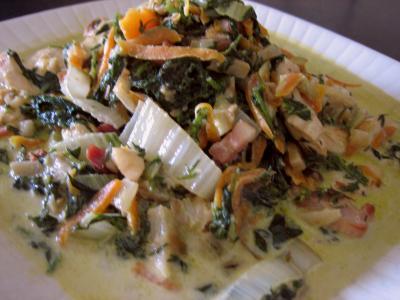 Recette Plat de blancs de poulet aux fanes de carottes