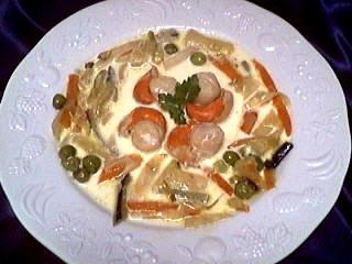 cerfeuil déshydraté : Assiette de blanquette de coquilles saint-Jacques