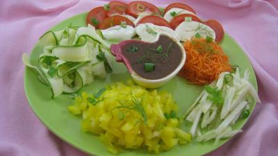 Huile d'amande : Assiette de salade mozzarella