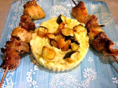 Image : Assiette de brochettes de foie de veau aromatiques