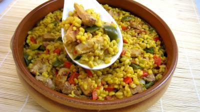 Recette Saladier de sauté de dinde au blé et poivrons