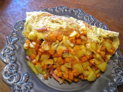 Cuisine diététique : Assiette d'omelette au potimarron et au chèvre