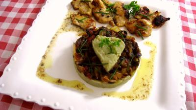 purée d'aubergine et confit d'oignons
