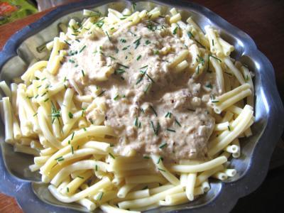 Recette Assiette de macaronis et sa sauce aux noisettes