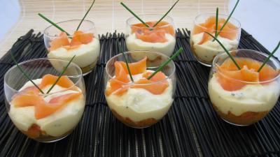 verrines de mascarpone au saumon