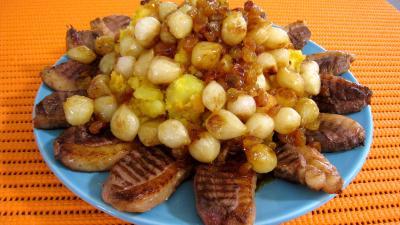 potimarron : Potimarron et pommes de terre aux oignons confits