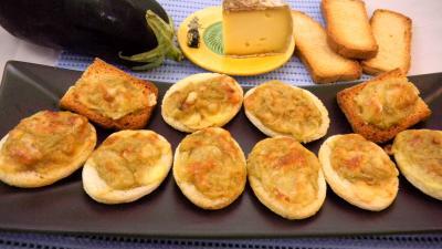 Recette Plat de canapés aux aubergines
