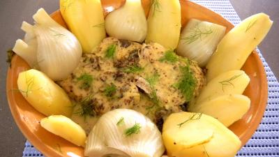 martini blanc : Plat de filets de lieu noir à la moutarde