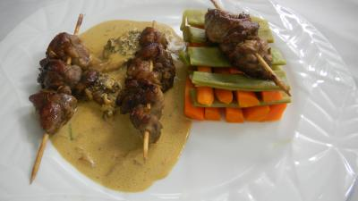 Image : Assiette de brochettes de ris de veau aux lgumes